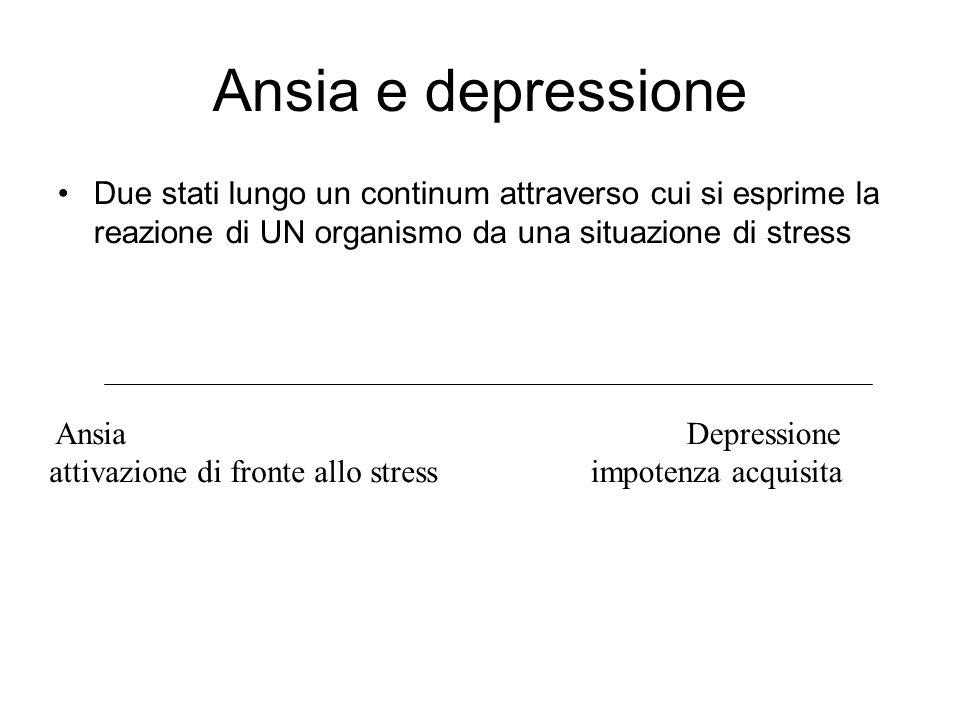Ansia e depressione Due stati lungo un continum attraverso cui si esprime la reazione di UN organismo da una situazione di stress Ansia attivazione di fronte allo stress Depressione impotenza acquisita