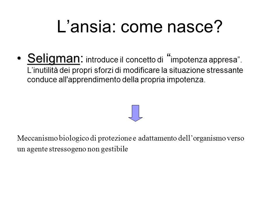 L'ansia: come nasce.SeligmanSeligman: introduce il concetto di impotenza appresa .