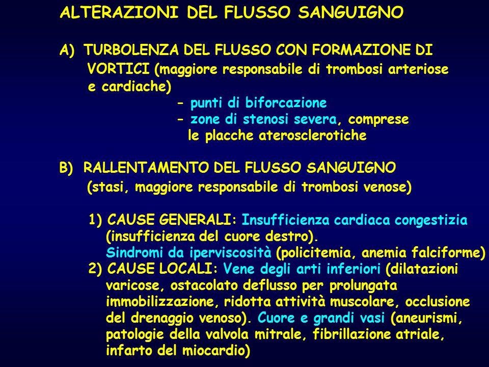 ALTERAZIONI DEL FLUSSO SANGUIGNO A)TURBOLENZA DEL FLUSSO CON FORMAZIONE DI VORTICI (maggiore responsabile di trombosi arteriose e cardiache) - punti d