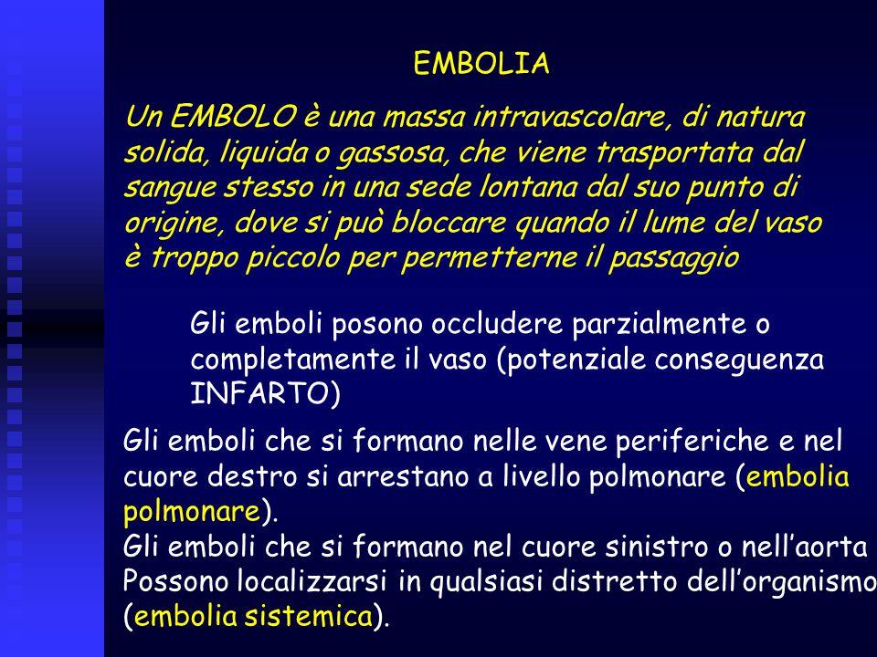 EMBOLIA Un EMBOLO è una massa intravascolare, di natura solida, liquida o gassosa, che viene trasportata dal sangue stesso in una sede lontana dal suo