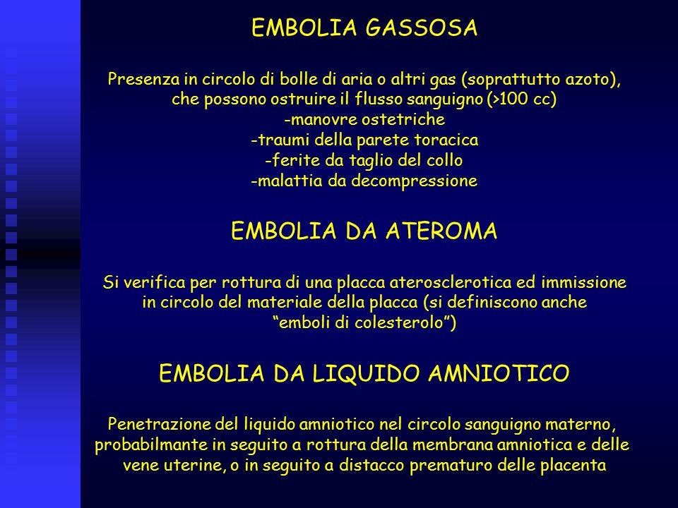 EMBOLIA GASSOSA Presenza in circolo di bolle di aria o altri gas (soprattutto azoto), che possono ostruire il flusso sanguigno (>100 cc) -manovre oste