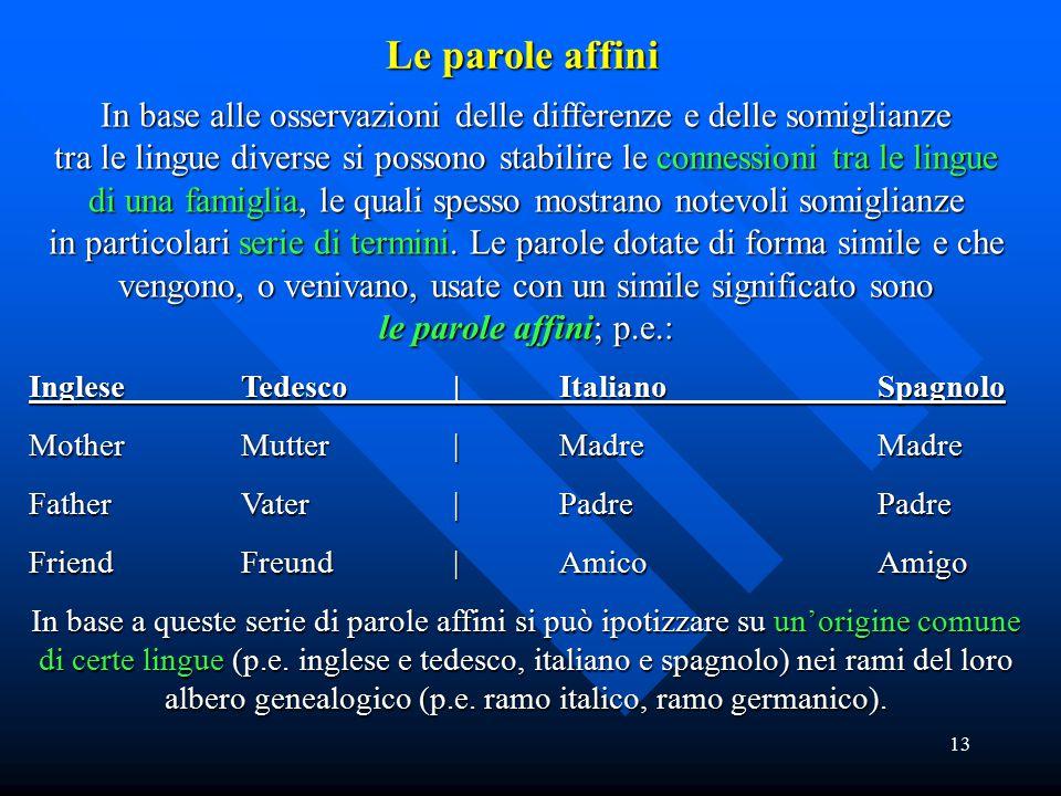 13 In base alle osservazioni delle differenze e delle somiglianze tra le lingue diverse si possono stabilire le connessioni tra le lingue di una famig