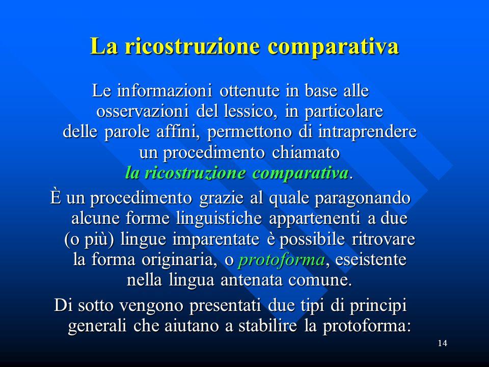 14 La ricostruzione comparativa Le informazioni ottenute in base alle osservazioni del lessico, in particolare delle parole affini, permettono di intr