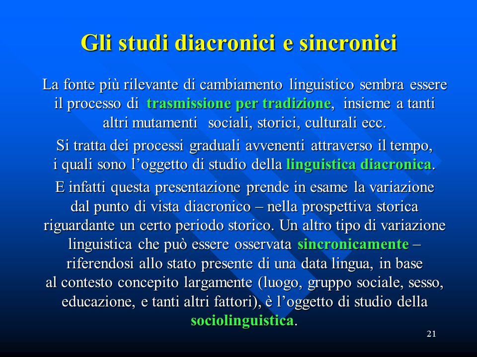 21 Gli studi diacronici e sincronici La fonte più rilevante di cambiamento linguistico sembra essere il processo di trasmissione per tradizione, insie