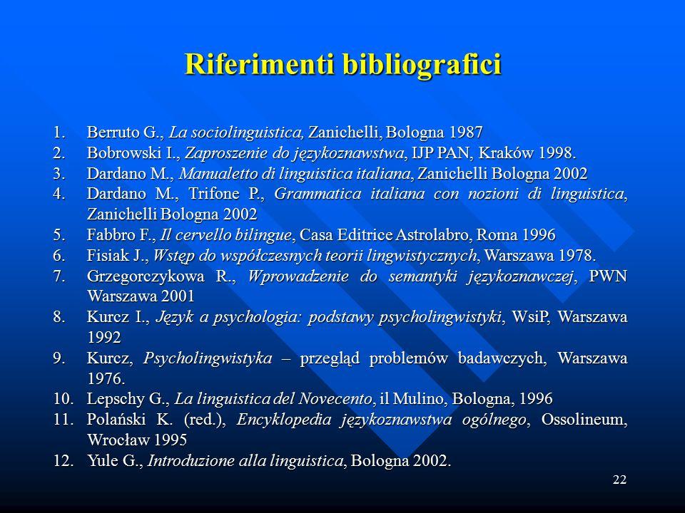 22 1.Berruto G., La sociolinguistica, Zanichelli, Bologna 1987 2.Bobrowski I., Zaproszenie do językoznawstwa, IJP PAN, Kraków 1998. 3.Dardano M., Manu