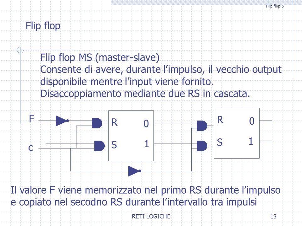 RETI LOGICHE13 Flip flop 5 Flip flop Flip flop MS (master-slave) Consente di avere, durante l'impulso, il vecchio output disponibile mentre l'input viene fornito.