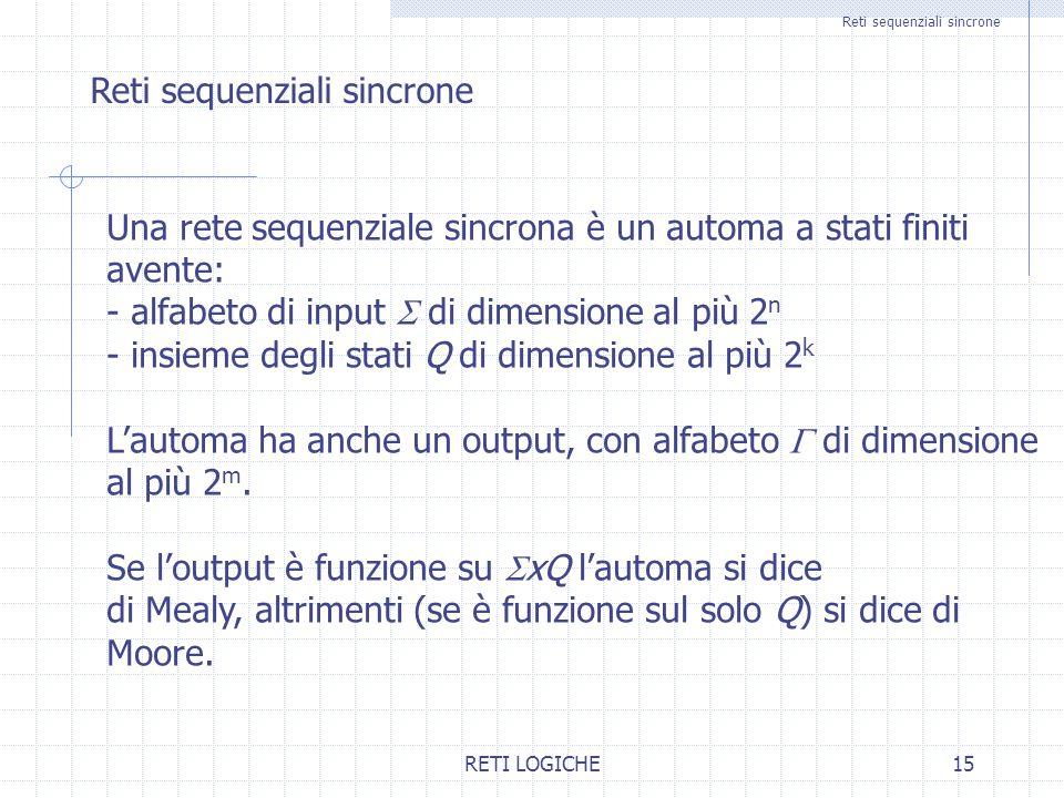 RETI LOGICHE15 Reti sequenziali sincrone Una rete sequenziale sincrona è un automa a stati finiti avente: - alfabeto di input  di dimensione al più 2 n - insieme degli stati Q di dimensione al più 2 k L'automa ha anche un output, con alfabeto  di dimensione al più 2 m.