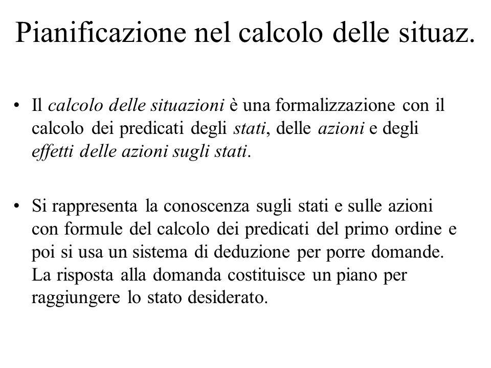 Pianificazione nel calcolo delle situaz. Il calcolo delle situazioni è una formalizzazione con il calcolo dei predicati degli stati, delle azioni e de