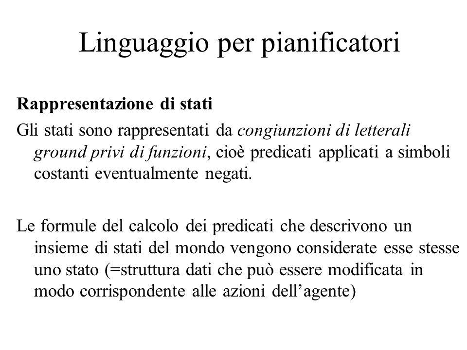 Linguaggio per pianificatori Rappresentazione di stati Gli stati sono rappresentati da congiunzioni di letterali ground privi di funzioni, cioè predic