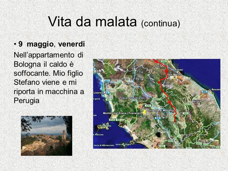 Vita da malata (continua) 9 maggio, venerdi Nell'appartamento di Bologna il caldo è soffocante.