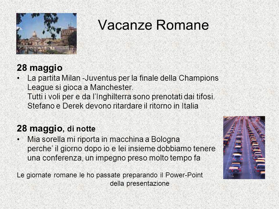Vacanze Romane 28 maggio La partita Milan -Juventus per la finale della Champions League si gioca a Manchester.