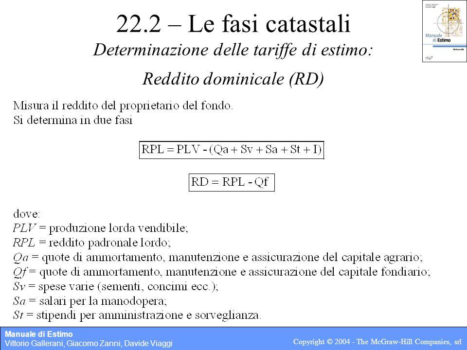 Manuale di Estimo Vittorio Gallerani, Giacomo Zanni, Davide Viaggi Copyright © 2004 - The McGraw-Hill Companies, srl 22.2 – Le fasi catastali Determin