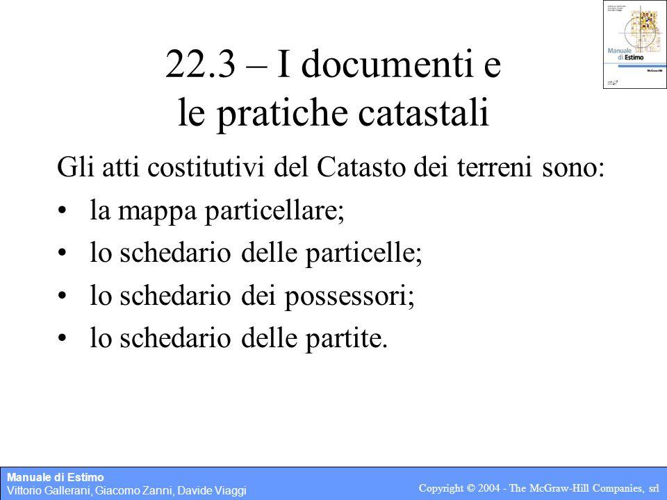 Manuale di Estimo Vittorio Gallerani, Giacomo Zanni, Davide Viaggi Copyright © 2004 - The McGraw-Hill Companies, srl 22.3 – I documenti e le pratiche