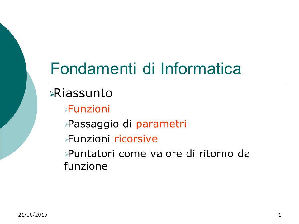 21/06/20151 Fondamenti di Informatica  Riassunto  Funzioni  Passaggio di parametri  Funzioni ricorsive  Puntatori come valore di ritorno da funzi