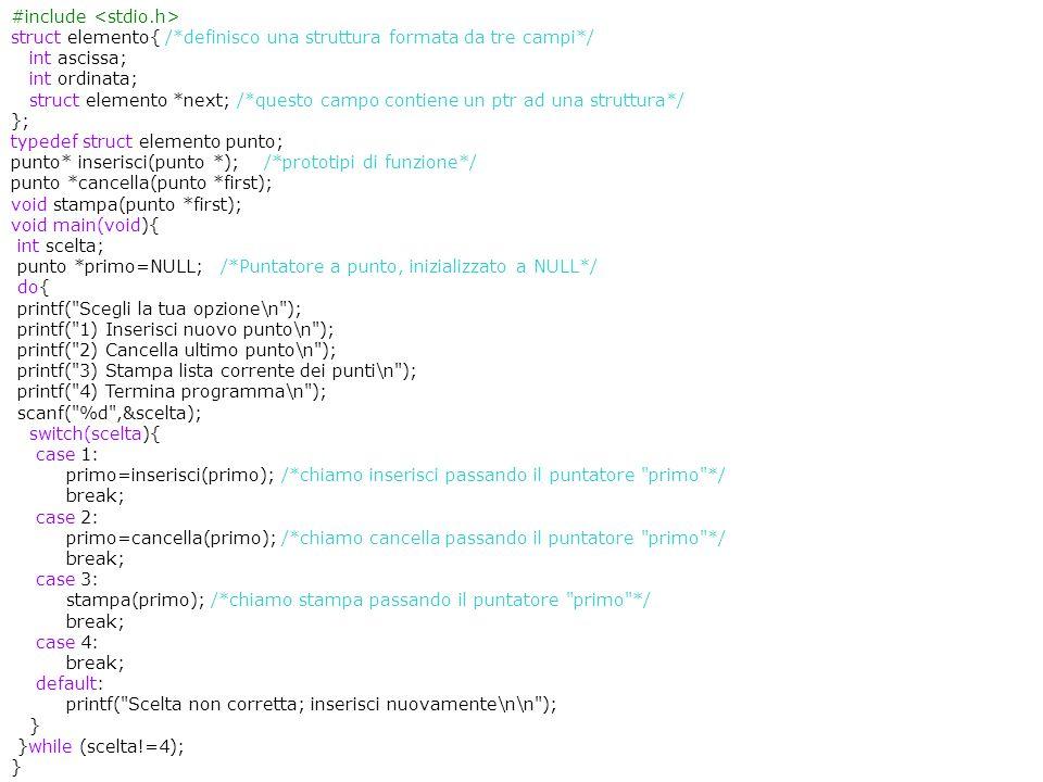 21/06/201512 Strutture e liste #include struct elemento{ /*definisco una struttura formata da tre campi*/ int ascissa; int ordinata; struct elemento *