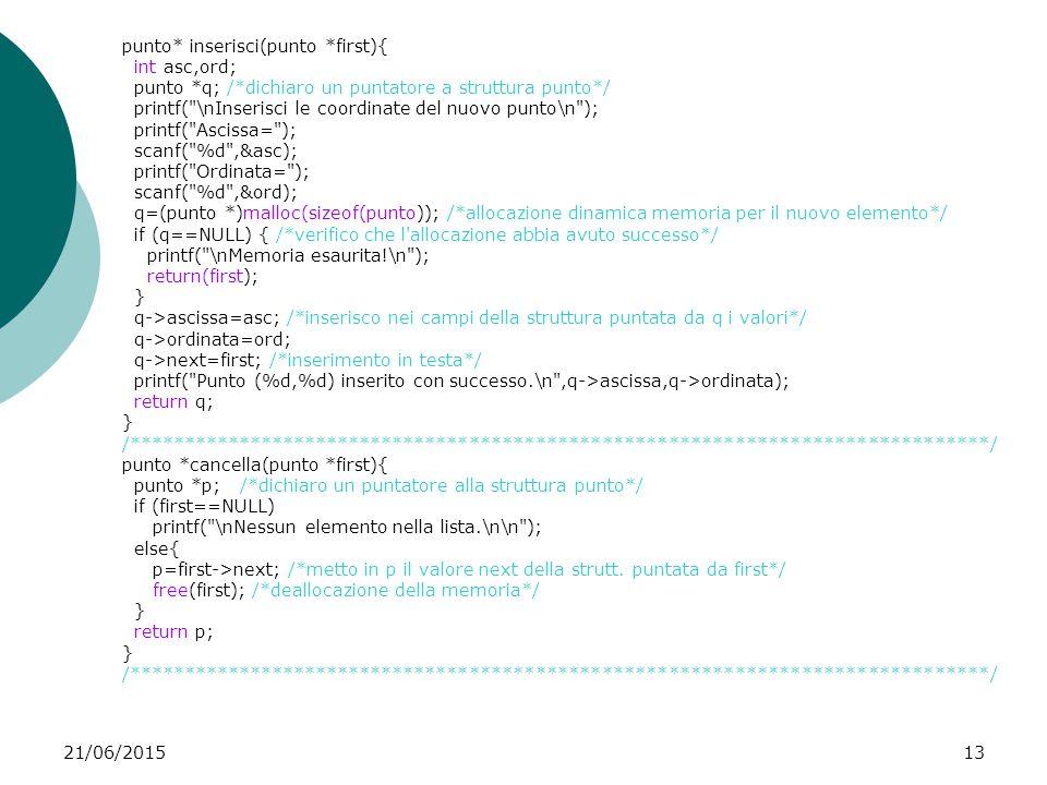 21/06/201513 punto* inserisci(punto *first){ int asc,ord; punto *q; /*dichiaro un puntatore a struttura punto*/ printf(