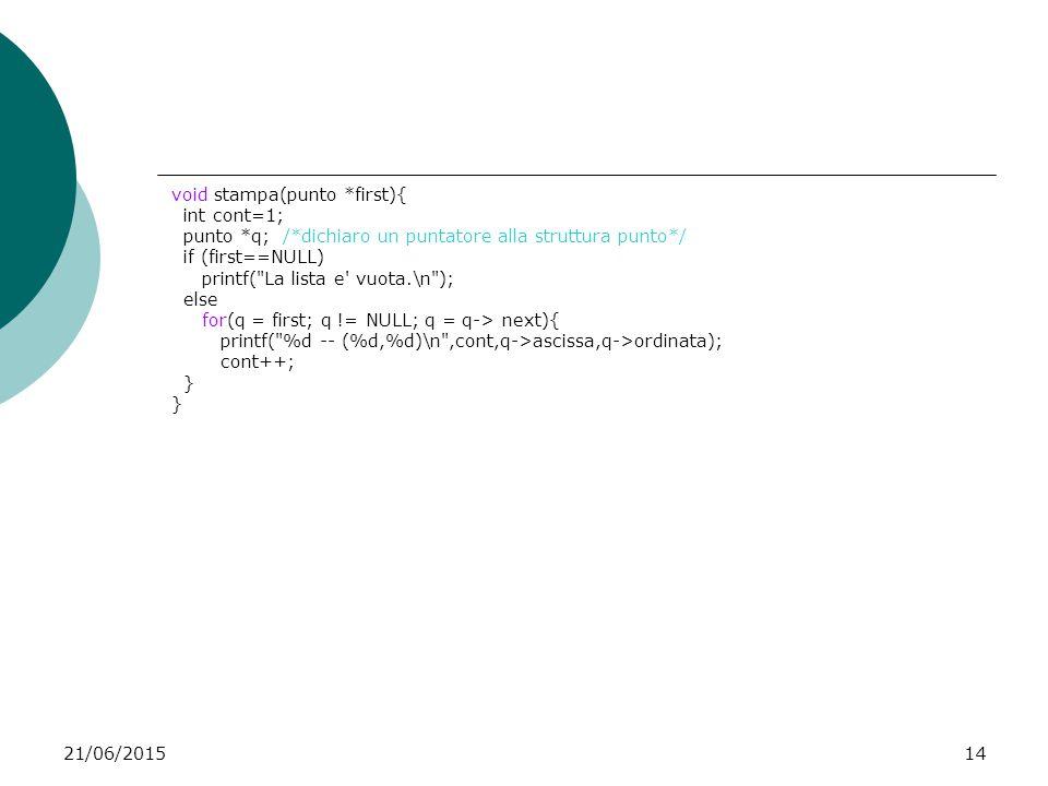 21/06/201514 void stampa(punto *first){ int cont=1; punto *q; /*dichiaro un puntatore alla struttura punto*/ if (first==NULL) printf(