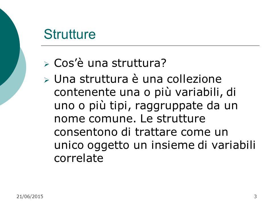 21/06/20153 Strutture  Cos'è una struttura?  Una struttura è una collezione contenente una o più variabili, di uno o più tipi, raggruppate da un nom