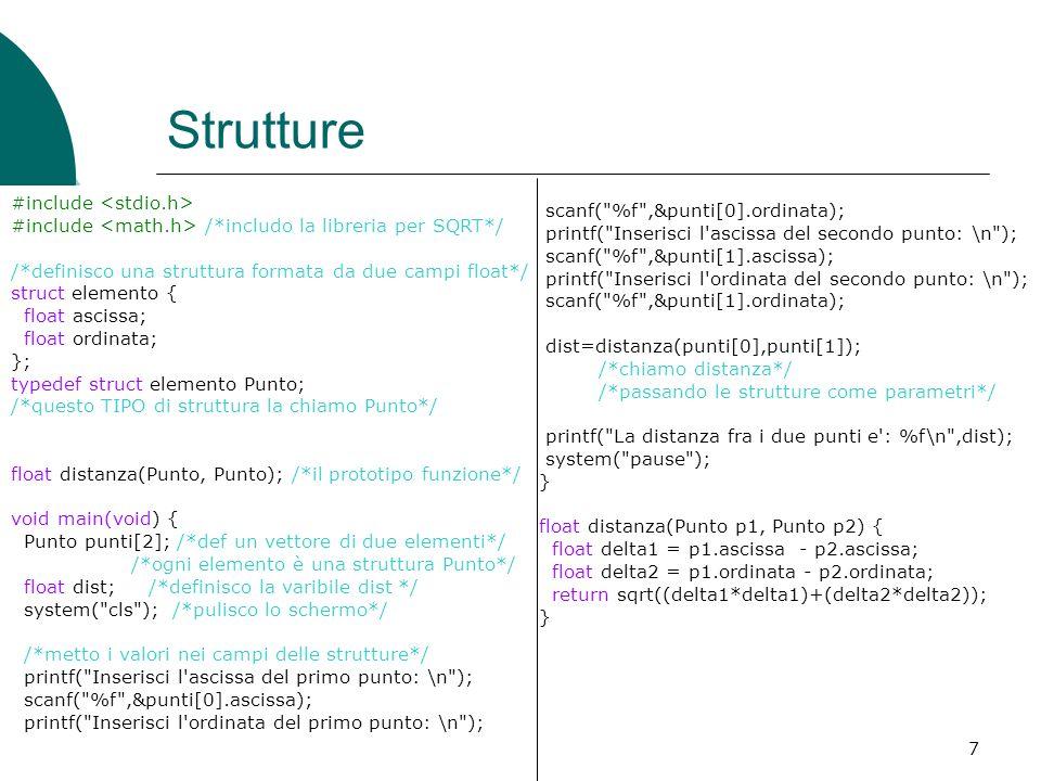 21/06/20157 Strutture #include #include /*includo la libreria per SQRT*/ /*definisco una struttura formata da due campi float*/ struct elemento { floa