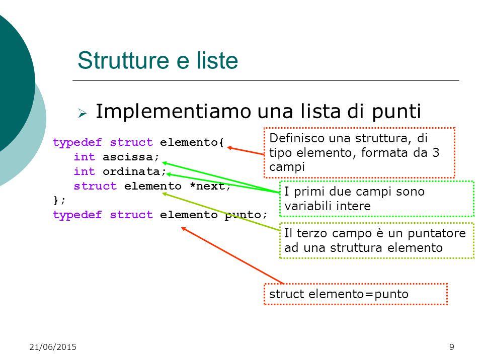 21/06/20159 Strutture e liste  Implementiamo una lista di punti typedef struct elemento{ int ascissa; int ordinata; struct elemento *next; }; typedef