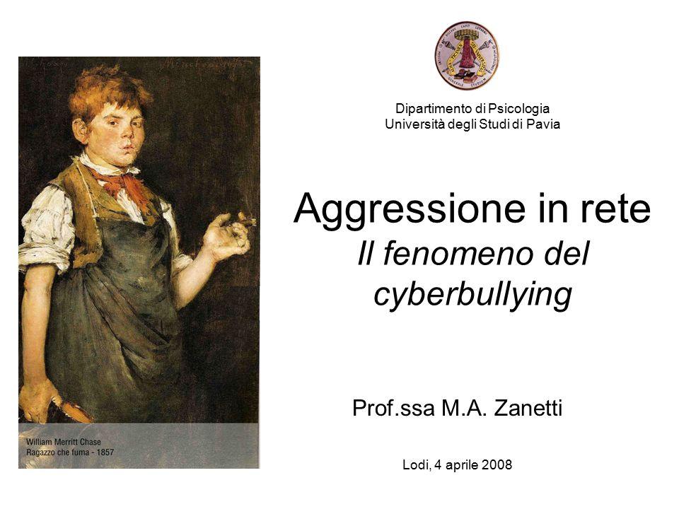 Dipartimento di Psicologia Università degli Studi di Pavia Aggressione in rete Il fenomeno del cyberbullying Prof.ssa M.A.