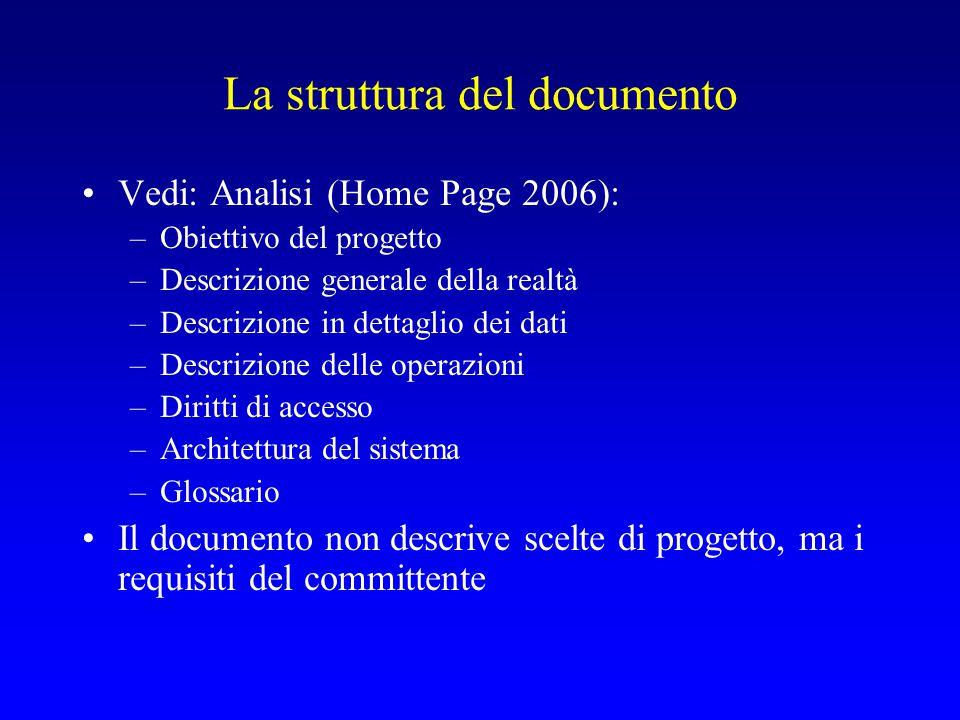 La struttura del documento Vedi: Analisi (Home Page 2006): –Obiettivo del progetto –Descrizione generale della realtà –Descrizione in dettaglio dei da