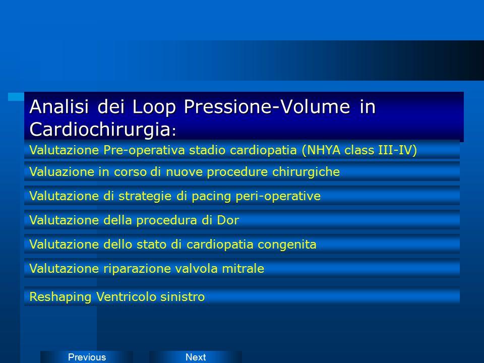 NextPrevious Analisi dei Loop Pressione-Volume in Cardiochirurgia : Valutazione Pre-operativa stadio cardiopatia (NHYA class III-IV) Valuazione in cor