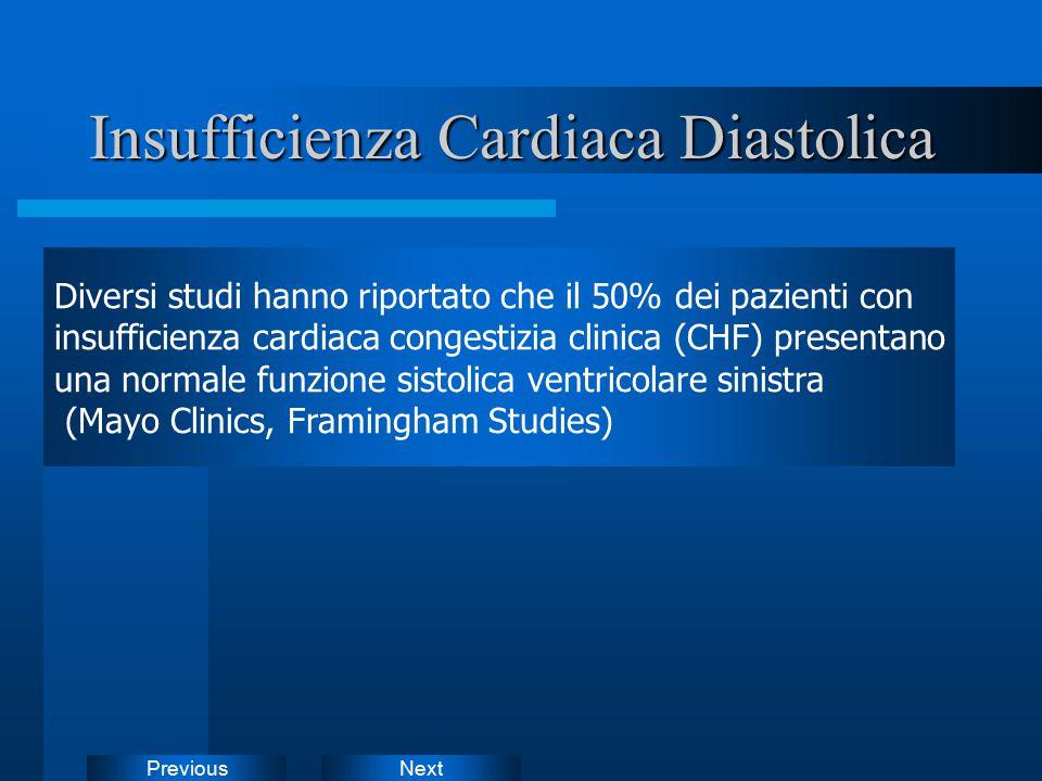 NextPrevious Insufficienza Cardiaca Diastolica Diversi studi hanno riportato che il 50% dei pazienti con insufficienza cardiaca congestizia clinica (C
