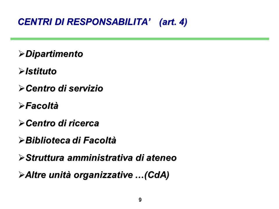 9 CENTRI DI RESPONSABILITA' (art.