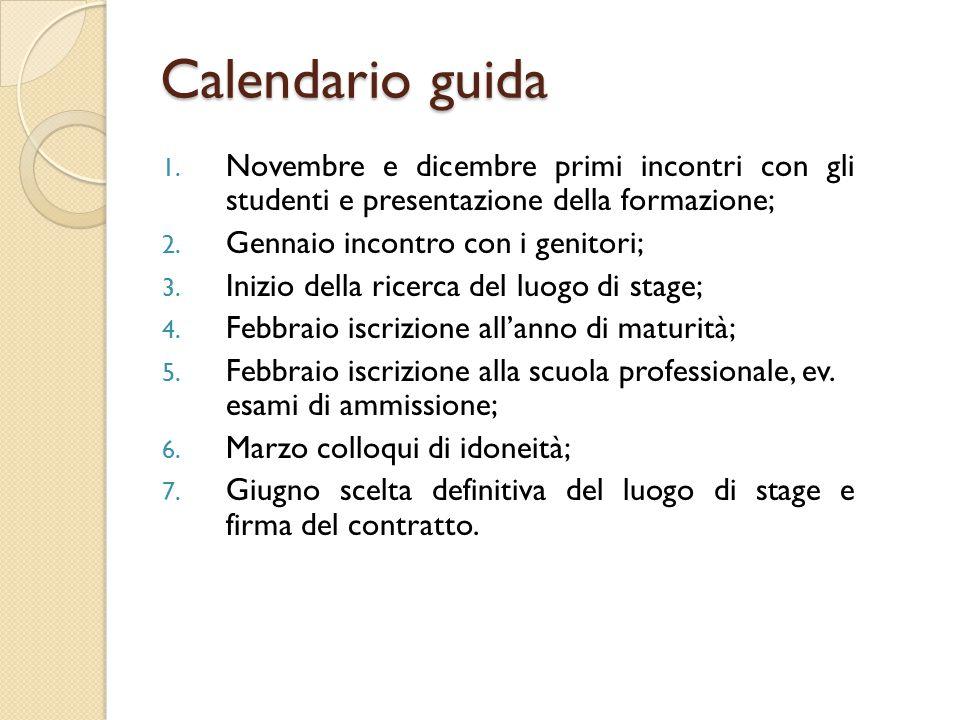 1. Novembre e dicembre primi incontri con gli studenti e presentazione della formazione; 2.
