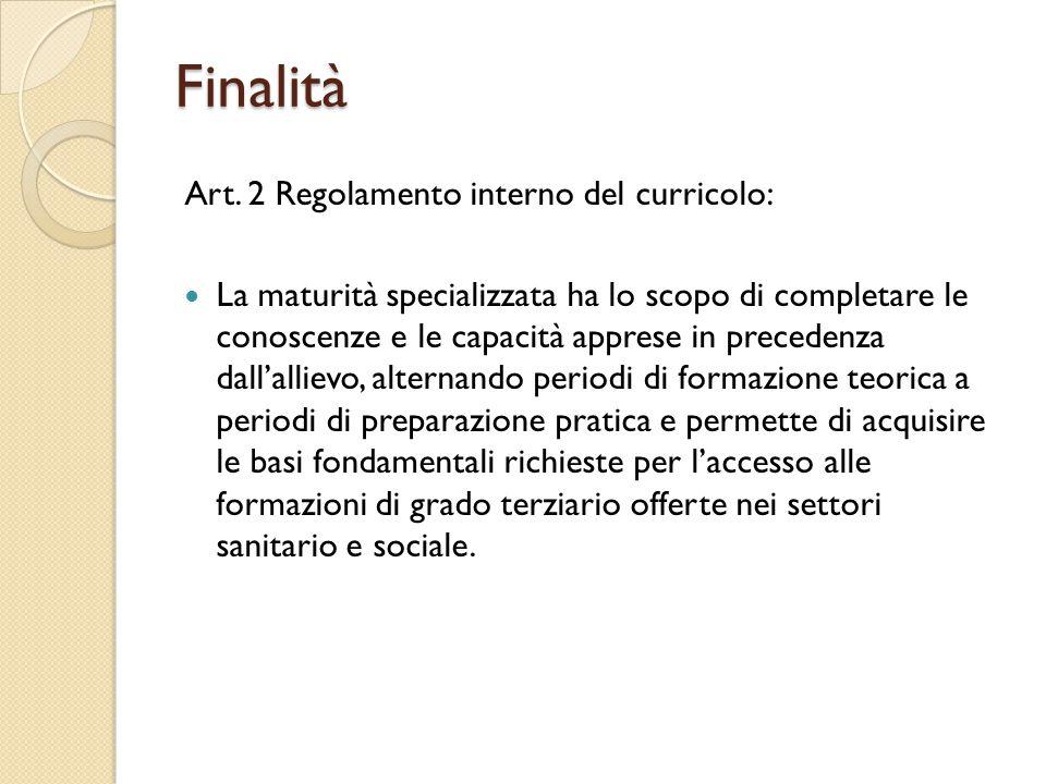 Art. 2 Regolamento interno del curricolo: La maturità specializzata ha lo scopo di completare le conoscenze e le capacità apprese in precedenza dall'a