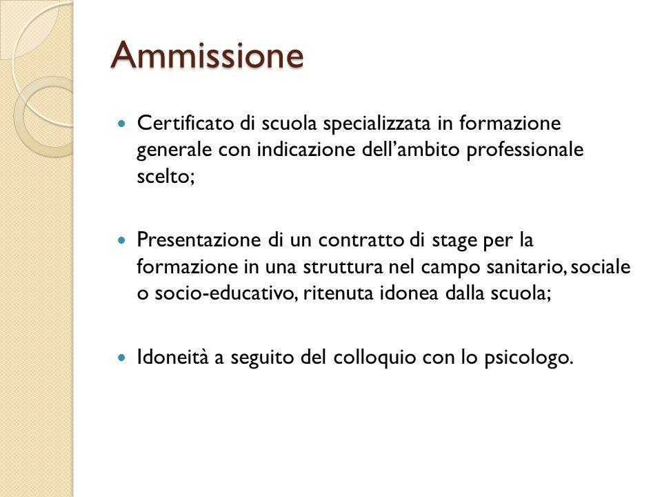 Certificato di scuola specializzata in formazione generale con indicazione dell'ambito professionale scelto; Presentazione di un contratto di stage per la formazione in una struttura nel campo sanitario, sociale o socio-educativo, ritenuta idonea dalla scuola; Idoneità a seguito del colloquio con lo psicologo.