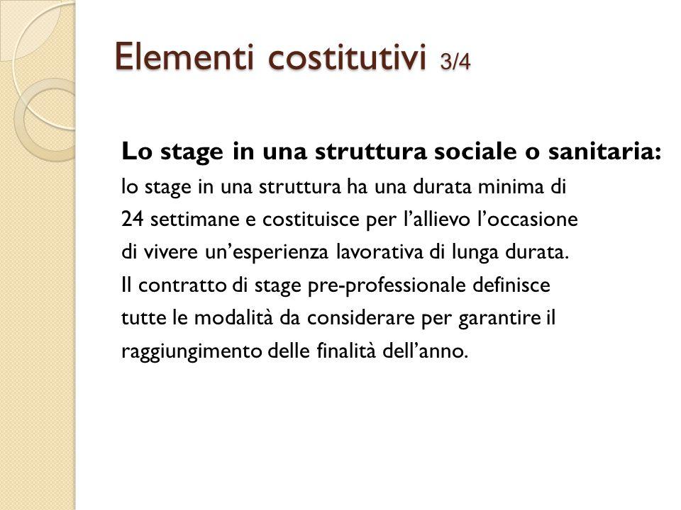 Lo stage in una struttura sociale o sanitaria: lo stage in una struttura ha una durata minima di 24 settimane e costituisce per l'allievo l'occasione di vivere un'esperienza lavorativa di lunga durata.