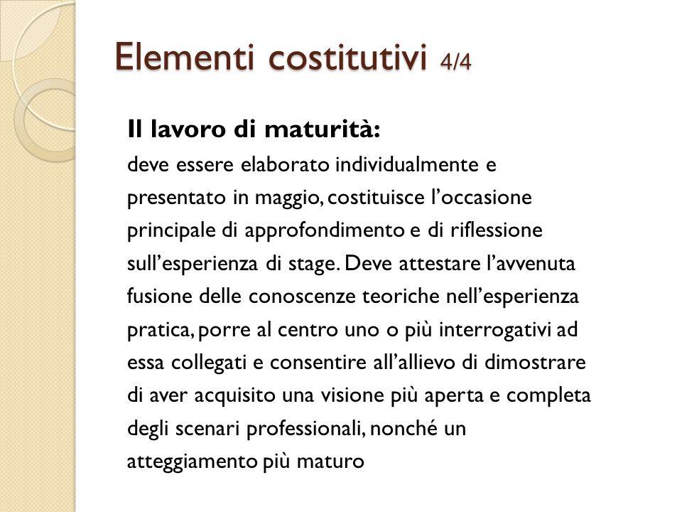 Il lavoro di maturità: deve essere elaborato individualmente e presentato in maggio, costituisce l'occasione principale di approfondimento e di riflessione sull'esperienza di stage.