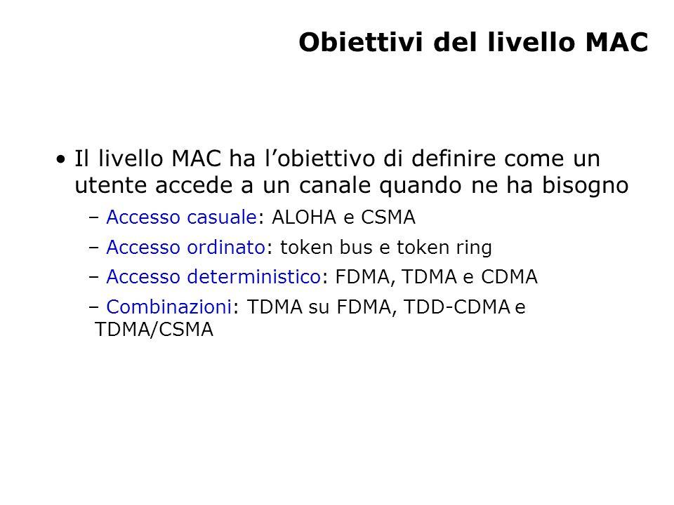 Obiettivi del livello MAC Il livello MAC ha l'obiettivo di definire come un utente accede a un canale quando ne ha bisogno – Accesso casuale: ALOHA e CSMA – Accesso ordinato: token bus e token ring – Accesso deterministico: FDMA, TDMA e CDMA – Combinazioni: TDMA su FDMA, TDD-CDMA e TDMA/CSMA