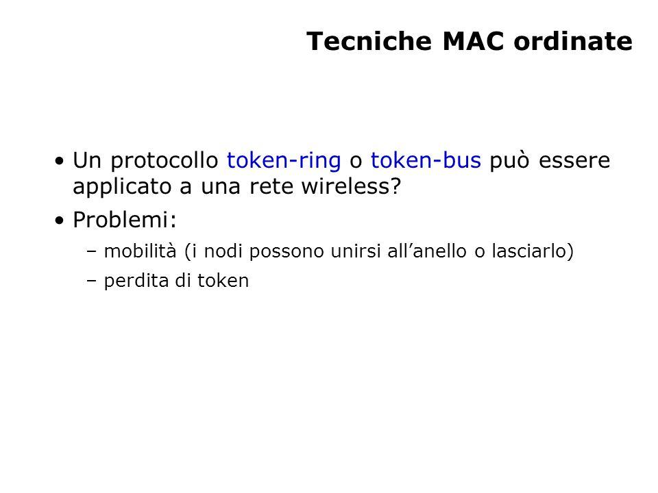 Tecniche MAC ordinate Un protocollo token-ring o token-bus può essere applicato a una rete wireless.