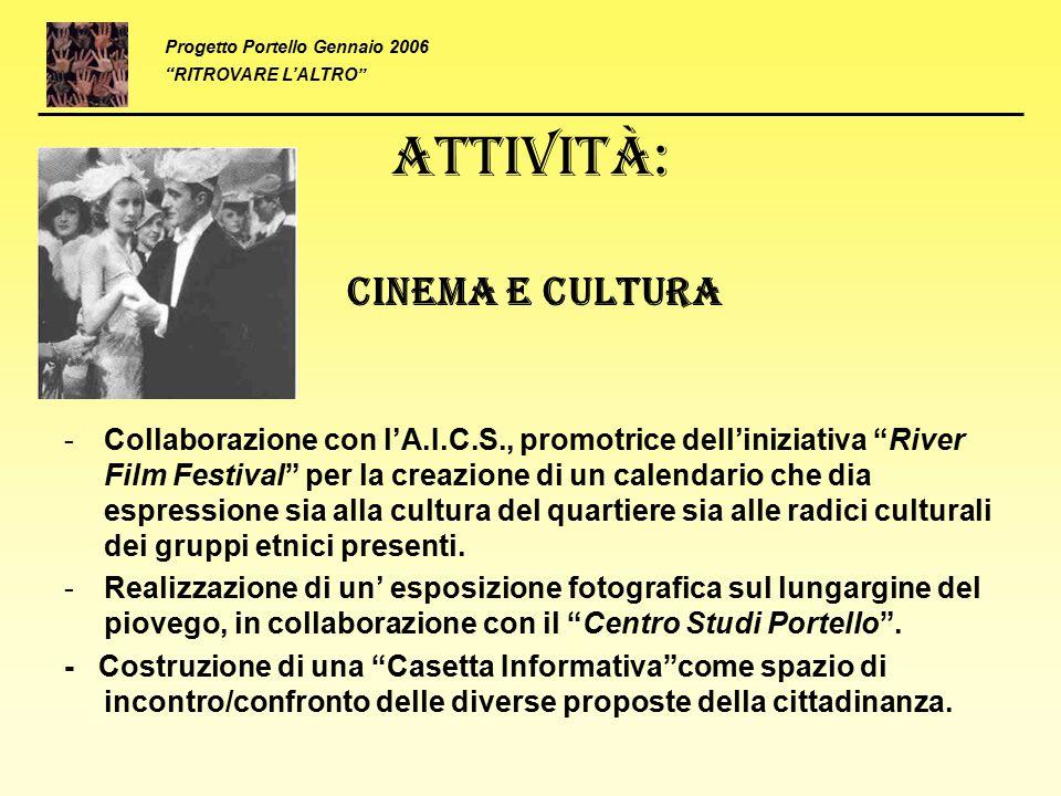 """Cinema e cultura -Collaborazione con l'A.I.C.S., promotrice dell'iniziativa """"River Film Festival"""" per la creazione di un calendario che dia espression"""