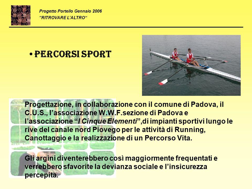"""Percorsi sport Progettazione, in collaborazione con il comune di Padova, il C.U.S., l'associazione W.W.F.sezione di Padova e l'associazione """"I Cinque"""
