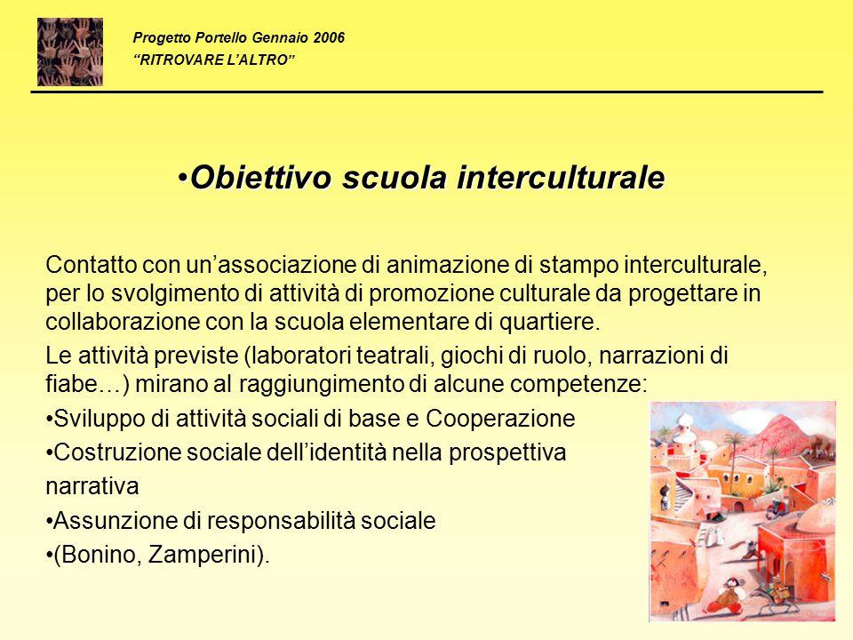 Obiettivo scuola interculturaleObiettivo scuola interculturale Contatto con un'associazione di animazione di stampo interculturale, per lo svolgimento