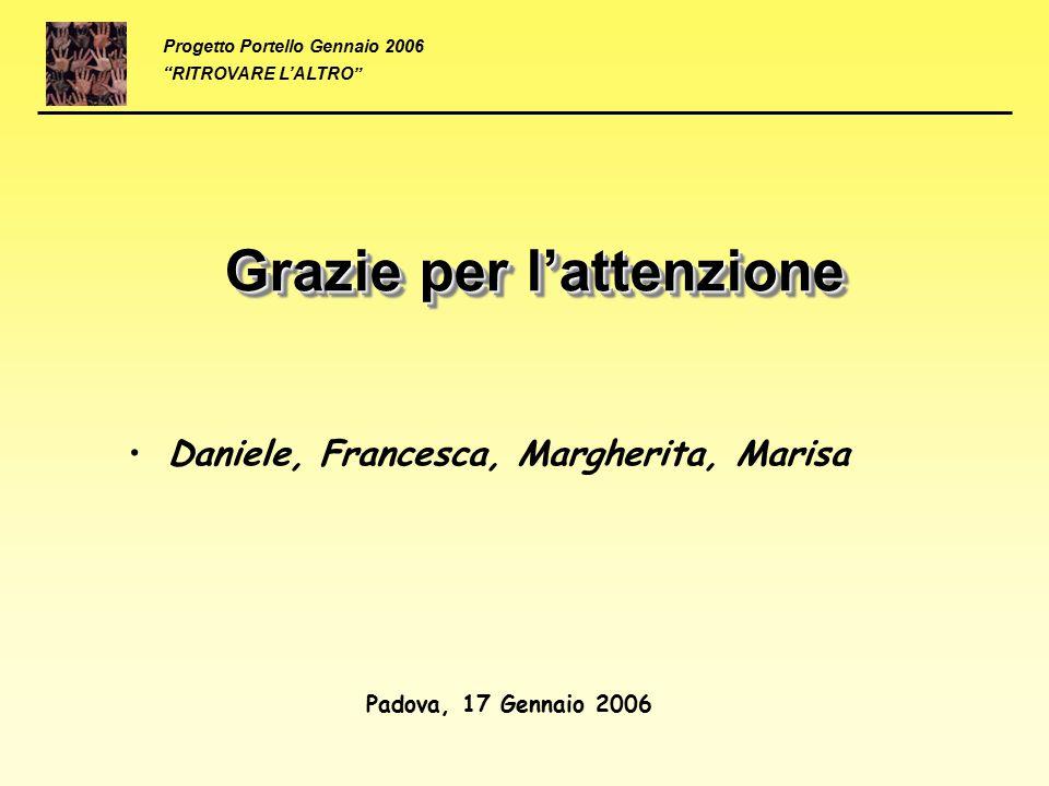 """Progetto Portello Gennaio 2006 """"RITROVARE L'ALTRO"""" Grazie per l'attenzione Daniele, Francesca, Margherita, Marisa Padova, 17 Gennaio 2006"""