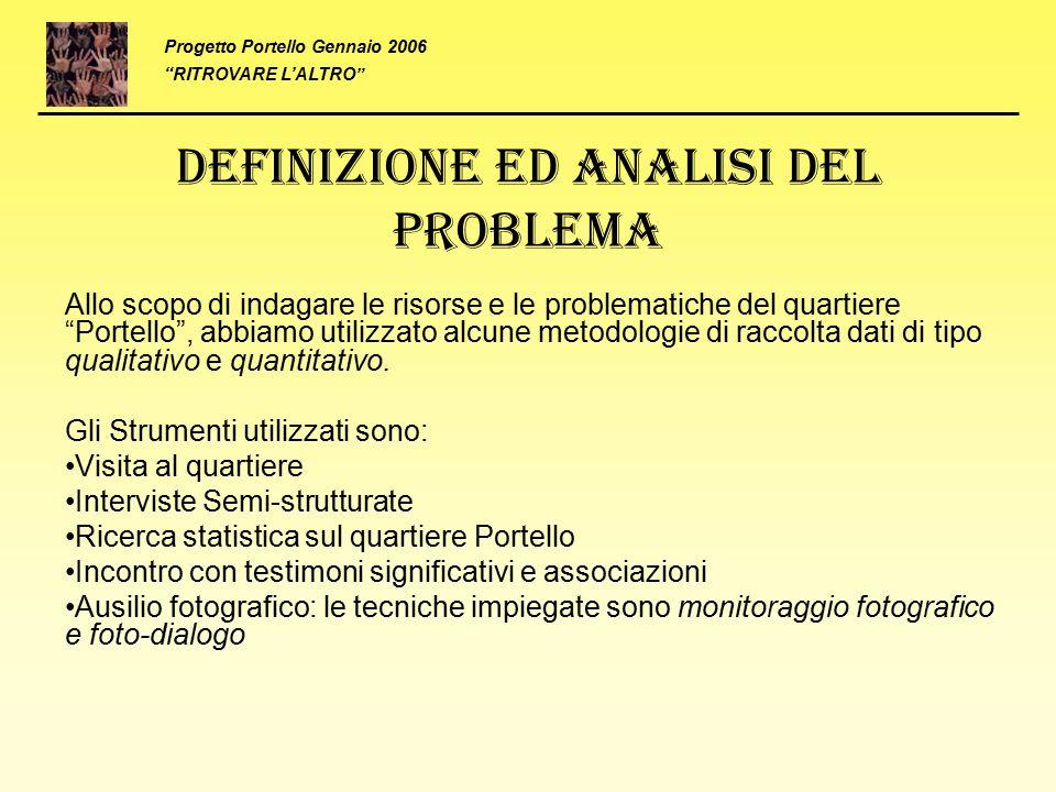 """Definizione ed analisi del problema Allo scopo di indagare le risorse e le problematiche del quartiere """"Portello"""", abbiamo utilizzato alcune metodolog"""