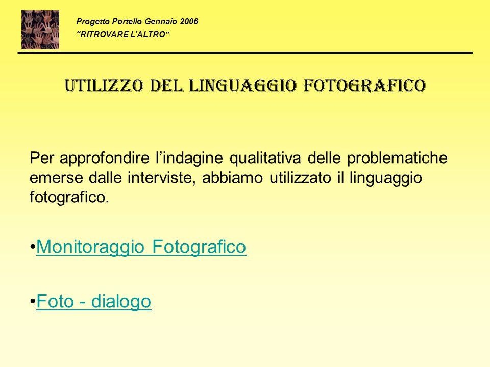 Utilizzo del linguaggio fotografico Per approfondire l'indagine qualitativa delle problematiche emerse dalle interviste, abbiamo utilizzato il linguag
