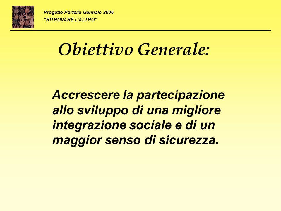 Obiettivo Generale: Accrescere la partecipazione allo sviluppo di una migliore integrazione sociale e di un maggior senso di sicurezza. Progetto Porte