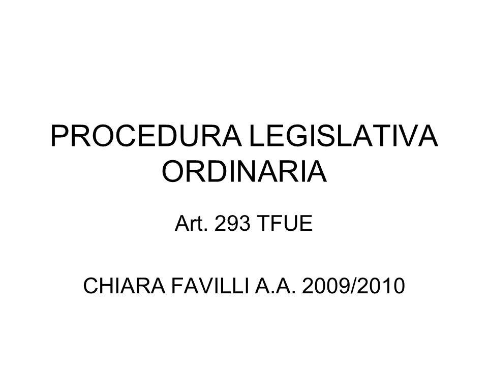 PROCEDURA LEGISLATIVA ORDINARIA Art. 293 TFUE CHIARA FAVILLI A.A. 2009/2010