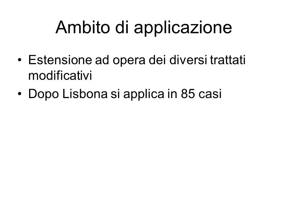 Ambito di applicazione Estensione ad opera dei diversi trattati modificativi Dopo Lisbona si applica in 85 casi