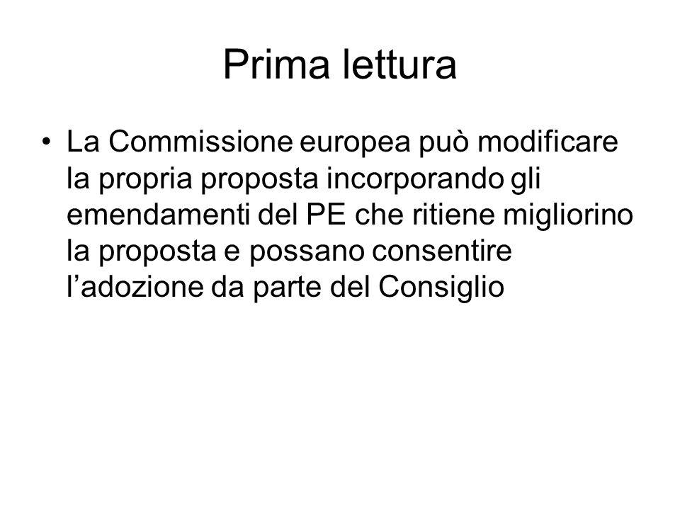 Prima lettura Il Consiglio può rendere nota la sua posizione sulla proposta solo dopo quella del PE –Vi sono continui scambi di informazioni Ipotesi più semplice –Il PE non ha formulato emendamenti –Il Consiglio non formula emendamenti L'atto è adottato così come proposto dalla Commissione