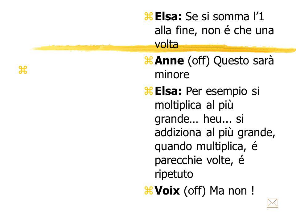 z z Elsa: Se si somma l'1 alla fine, non é che una volta z Anne (off) Questo sarà minore z Elsa: Per esempio si moltiplica al più grande… heu...