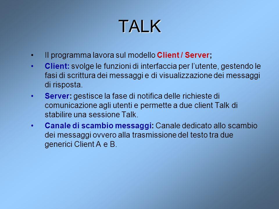 TALK Il programma lavora sul modello Client / Server; Client: svolge le funzioni di interfaccia per l'utente, gestendo le fasi di scrittura dei messag