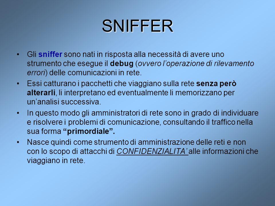 SNIFFER Gli sniffer sono nati in risposta alla necessità di avere uno strumento che esegue il debug (ovvero l'operazione di rilevamento errori) delle