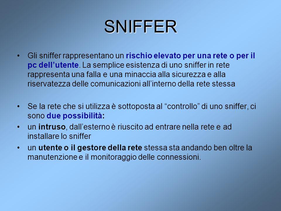 SNIFFER Gli sniffer rappresentano un rischio elevato per una rete o per il pc dell'utente. La semplice esistenza di uno sniffer in rete rappresenta un